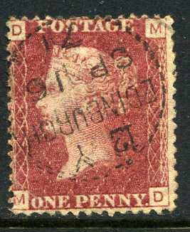 "1858-79 1d Rose-red plate 143 lettered MD. A very fine used example with ""Edinburgh"" dotted circle dated 16th September"