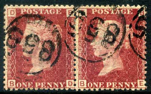1858-79 1d Rose-red plate 120 lettered BD-BE. A very fine used pair each with 855 in circle cancels.
