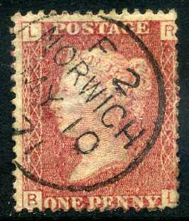 "1858-79 1d Rose-red plate 113 lettered RL. A very fine used example with ""Norwich"" CDS dated 10th May, 1871."