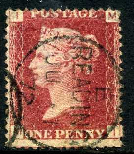 "1858-79 1d Rose-red plate 127 lettered MI. A very fine used example with ""Reading"" CDS dated 1st June, 1872."