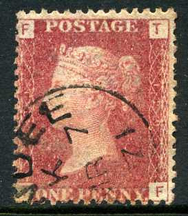"1858-79 1d Rose-red plate 129 lettered TF. A very fine used example with ""Dundee"" CDS dated 7th March"