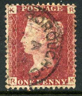 1858-79 1d Rose-red plate 134 lettered RK. A very fine CDS used example.