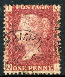 1858-79 1d Rose-red plate 109 lettered QI. A very fine CDS used example.