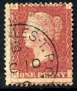 1858-79 1d Rose-red plate 135 lettered RA. A very fine CDS used example of this scarce plate.
