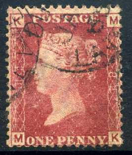 1858-79 1d Rose-red plate 82 lettered MK. A very fine CDS used example.