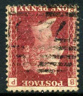 1858-79 1d Rose-red plate 74 watermark inverted lettered PB. A fine used lightly cancelled example.