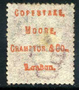 "1858-79 1d Rose-red plate 107 lettered JE. A fine used example underprinted ""Copestake, Moore, Crampton & Co., London"" in red."