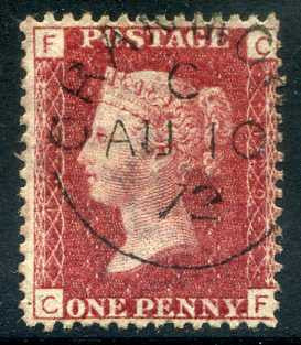 1858-79 1d Rose-red plate 129 lettered CF. A superb CDS used example dated 10th August, 1872.