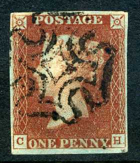 1841 1d Red-brown from black plate 9 lettered CH. A very fine used four margined example with black MC.