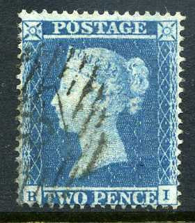 1854 2d Pale blue plate 4 small crown perf 16 lettered HI. A very fine used example with light No 8 numeral cancel.