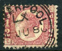 "1870 ½d Rose-red plate 19 lettered EC. A very fine used example with ""Liverpool"" squared circle dated June, 1880."