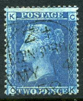 "1858 2d Blue plate 7 lettered CK. A superb used example with ""Edinburgh"" CDS dated 14th May, 1859."