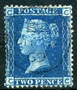 1858 2d Blue plate 12 lettered CC. A very fine CDS used example dated 3rd May, 1869.4th May, 1859.