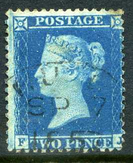 1857 2d Blue plate 6 large crow perf 14 lettered FJ. A superb CDS used example dated 7th September