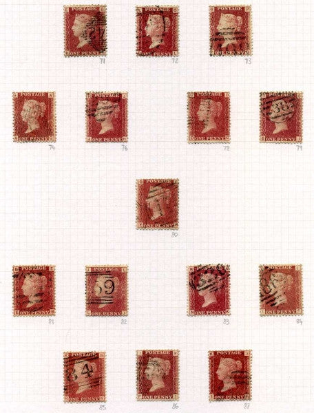1858-79 1d Rose-red plate numbers. A fine used complete set less plates 77 & 225. Each stamp selected for clarity of plate number and fresh appearance without faults (150 stamps).