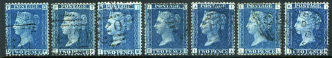 1858-69 2d Blue plate numbers 7 - 15. A fine used complete set of seven plates well centred with clear numbers.