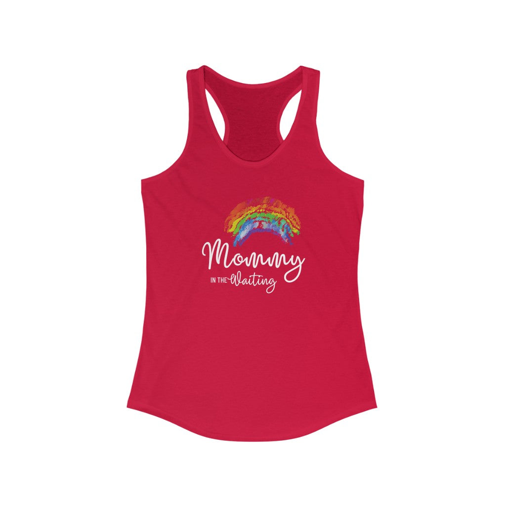 Mommy in the Waiting (Rainbow) - Dark Hormone Puzzle™ Women's Ideal Racerback Tank