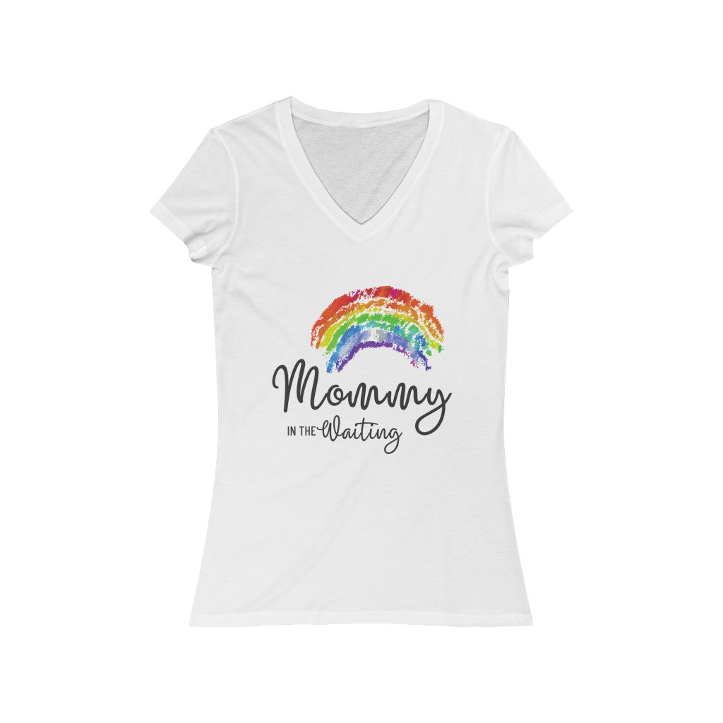Mommy in the Waiting (Rainbow) - Light Hormone Puzzle™ Women's Jersey Short Sleeve V-Neck Tee