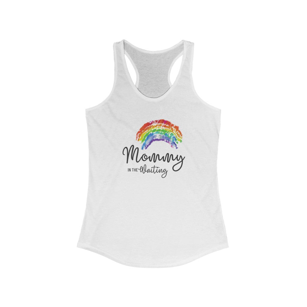 Mommy in the Waiting (Rainbow) - Light Hormone Puzzle™ Women's Ideal Racerback Tank