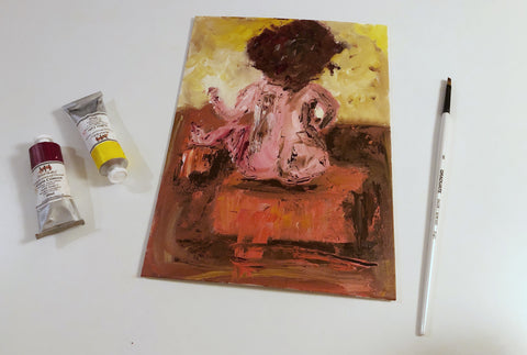 Woman on footstool OIL PAINTING ORIGINAL