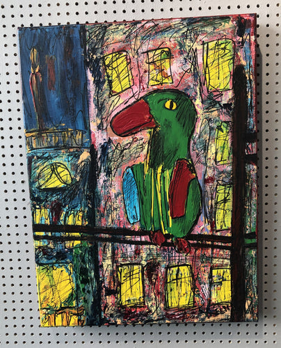 City Parrot - original painting by artist Elin Maria Parmhed