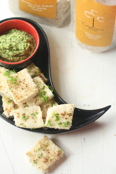 brown rice brown rice poha dhokla