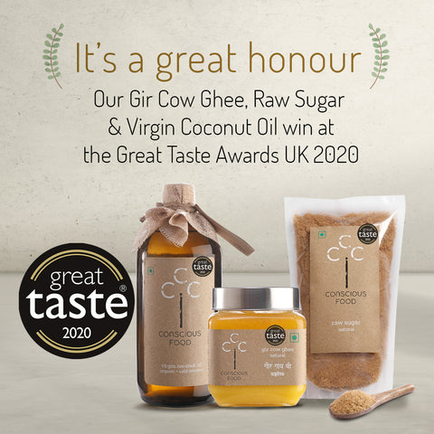 Gir Cow Ghee, Raw Sugar, and Virgin Coconut Oil wins Great Taste Awards UK 2020