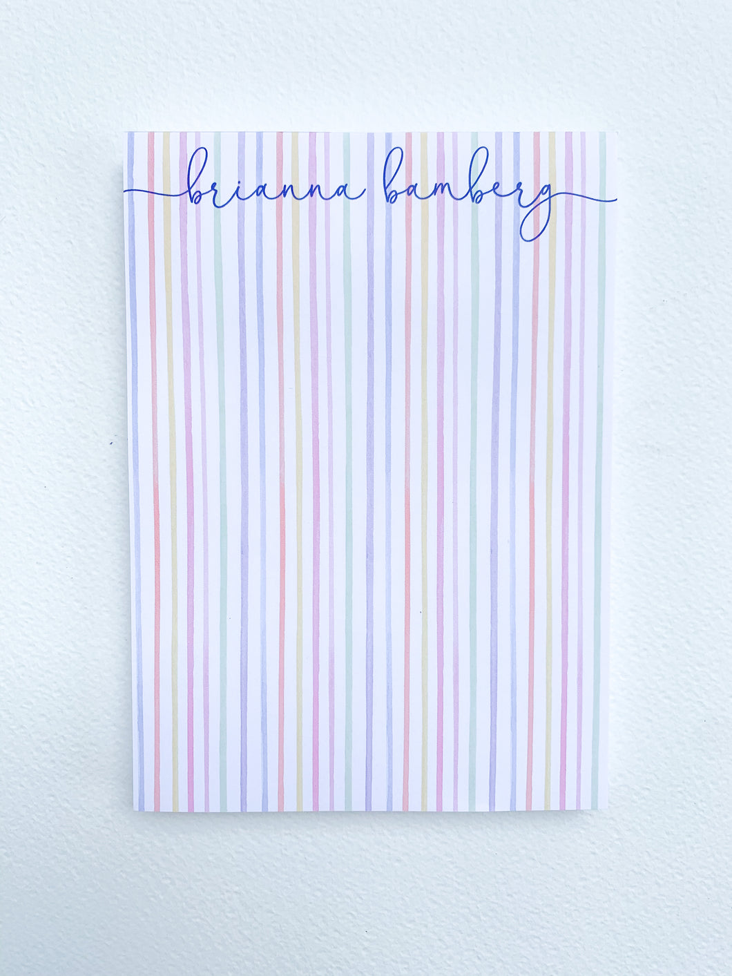 RAINBOW STRIPE NAME NOTEPAD