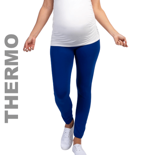 Maternity Blue Thermal Leggings