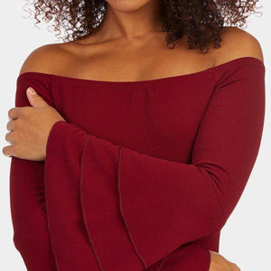Burgundy Off Shoulder Dress - Flamour.ro