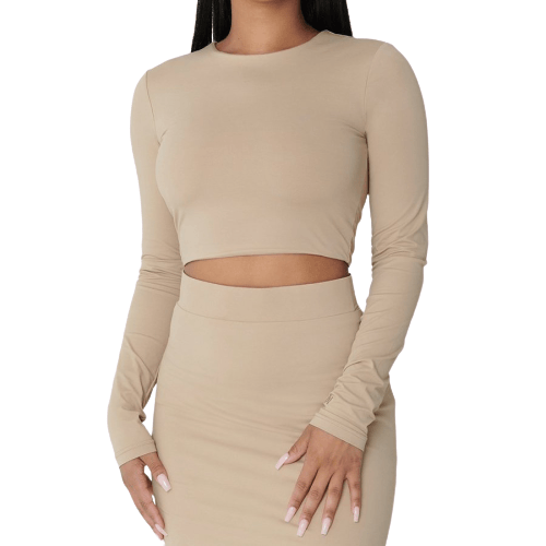 Nude Crop Top - Flamour.ro