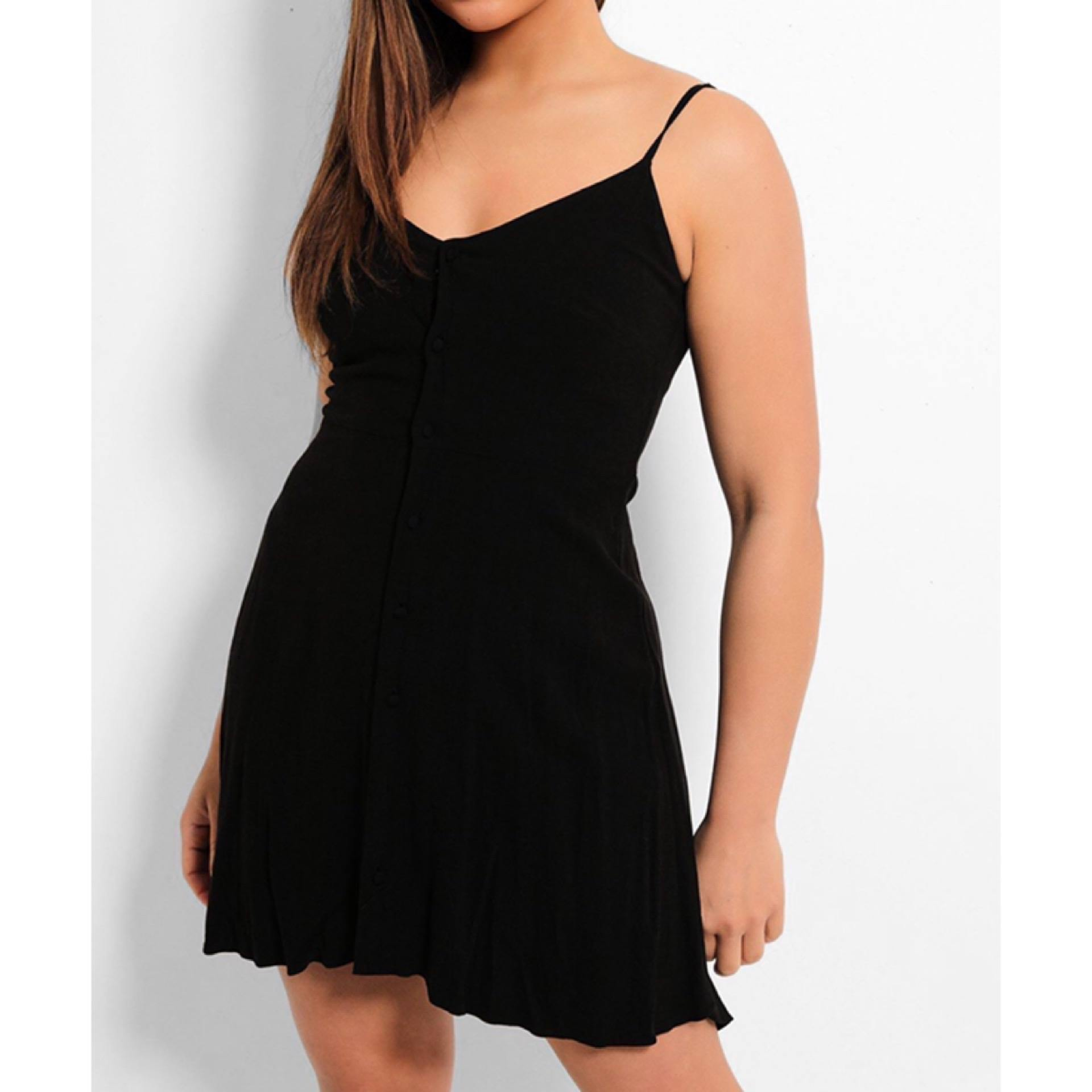 Black Button Up Dress - Flamour.ro