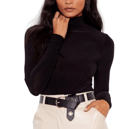Shiny Black Turtleneck Top