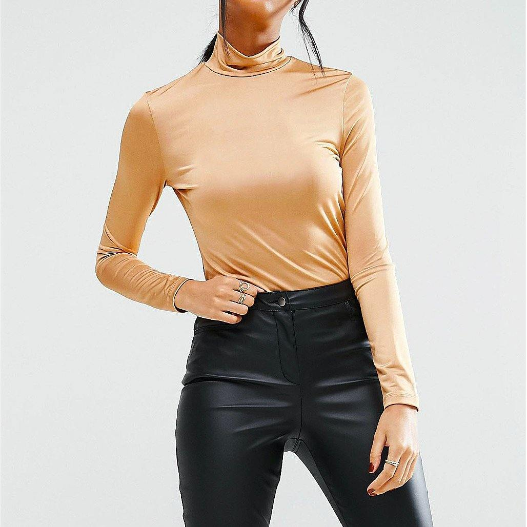 Caramel-Gold Turtleneck Top - Flamour.ro
