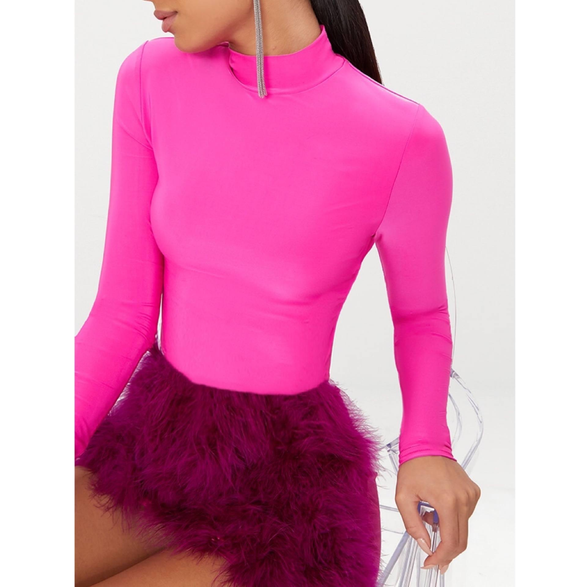 Pink Fuchsia Turtleneck Top