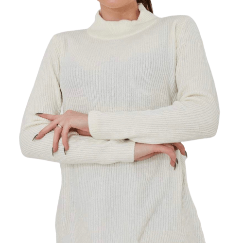 Cream Highneck Pullover - Flamour.ro