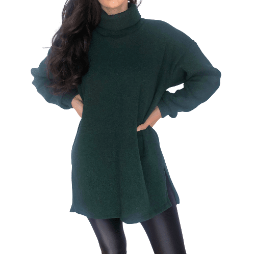 Forest Green Oversized Sweater - Flamour.ro