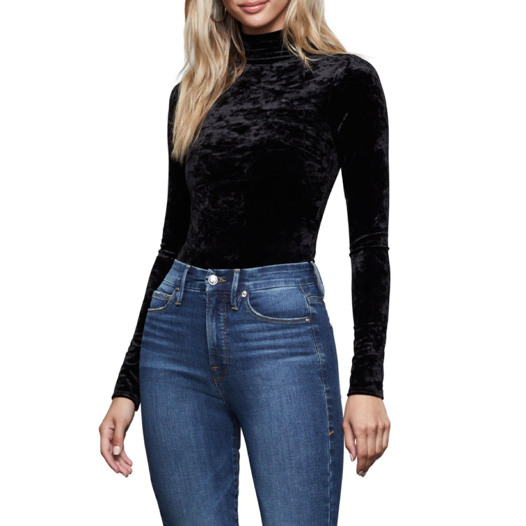 Crushed Velvet Turtleneck Top - Flamour.ro