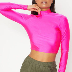 Black Shiny Crop Top - Flamour.ro