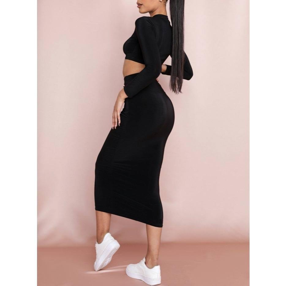 Black Midi Skirt & Top SET