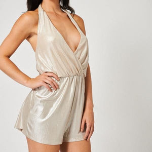 Champagne Playsuit - Flamour.ro