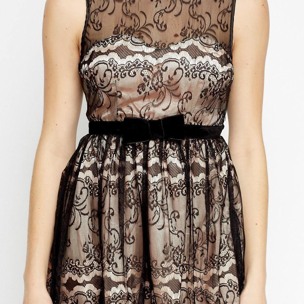 Lace Overlay Dress - Flamour.ro