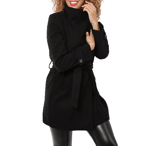 Black Belted Coat - Flamour.ro