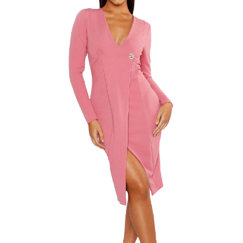 Blush Pink Midi Dress - Flamour.ro