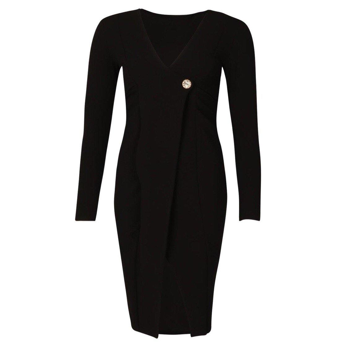 Black Midi Dress - Flamour.ro