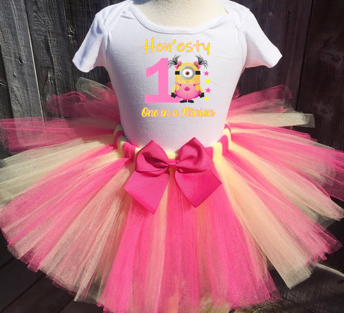 Pink Minion Birthday Tutu Outfit Set for Girls