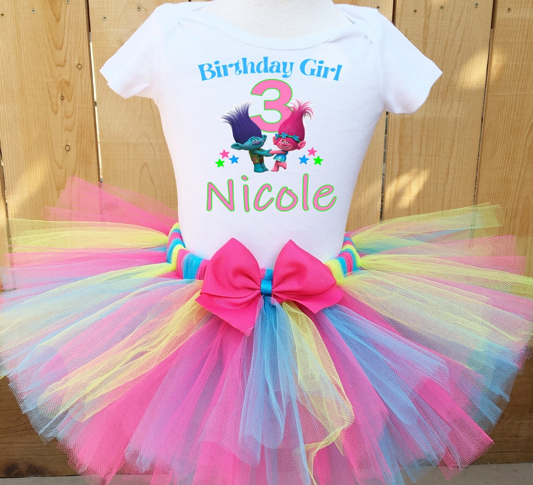 Trolls Branch And Poppy Birthday Tutu Outfit
