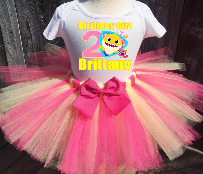 Yellow Baby Shark  Birthday Tutu Outfit-Dress
