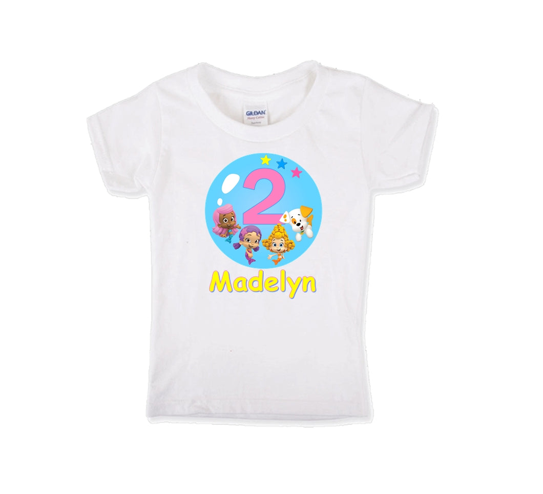 Bubble Guppies Oona, Molly and Deema Personalized Birthday Shirt Girls