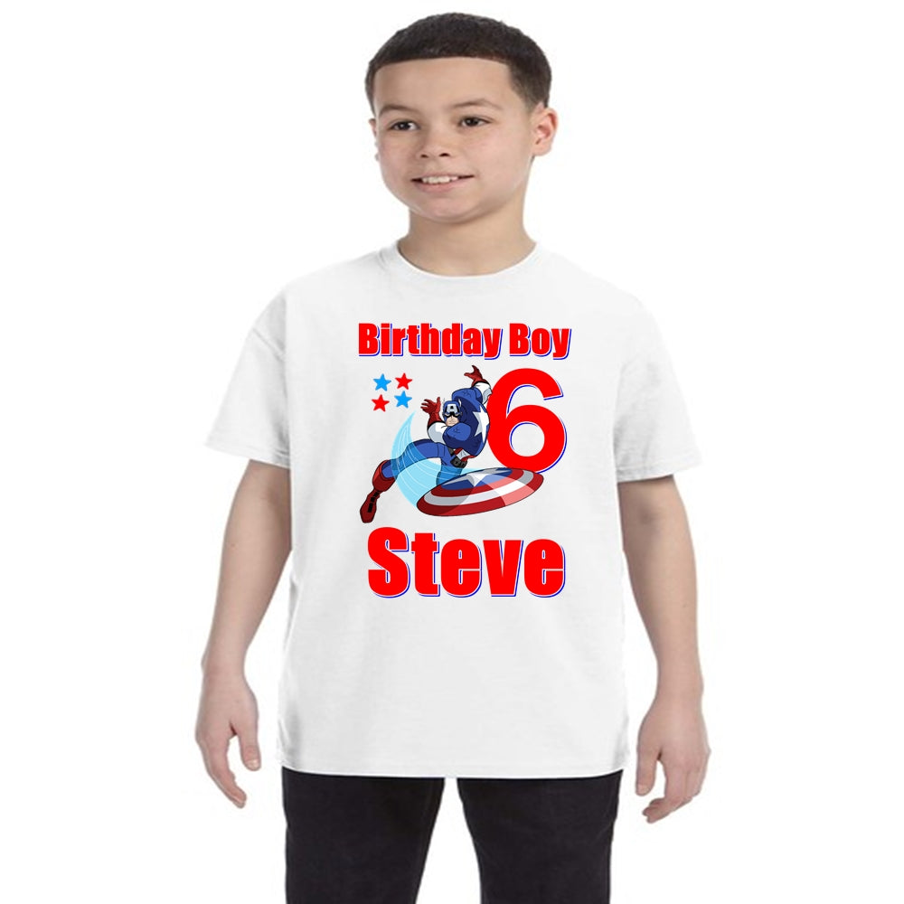 Captain America Birthday Shirt Boys-Superhero